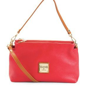 VALENTINA Made In Italy Leather Crossbody Red